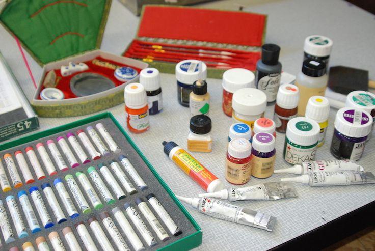 Kreiden und Seidenmalfarbe