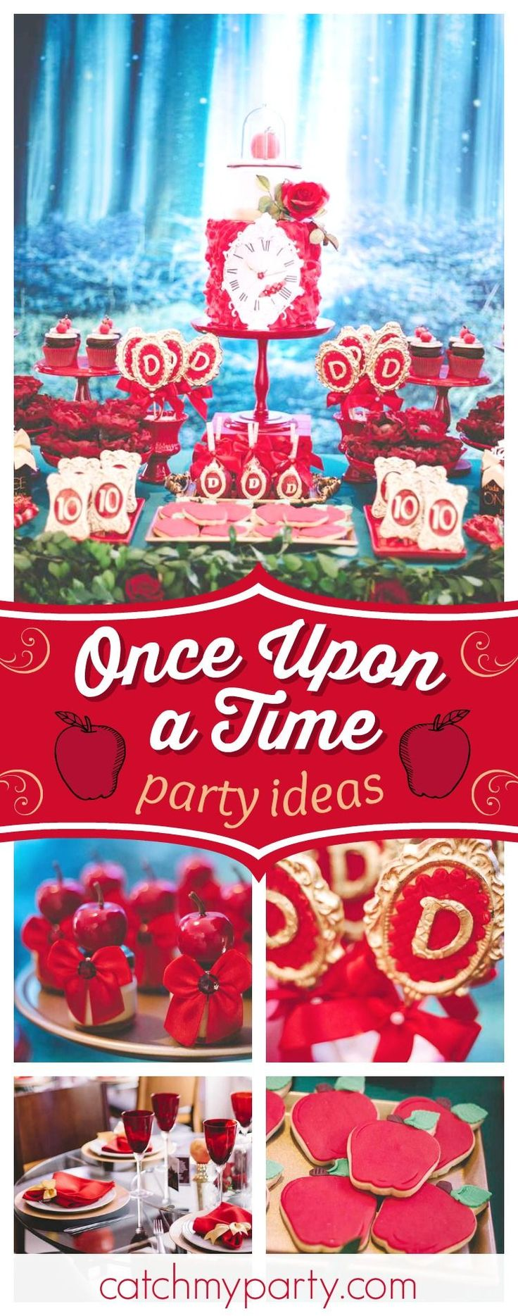 Swoon over this glamorous Once Upon a Time birthday party! The dessert table is stunning!! See your party ideas and share yours at CatchMyParty.com #catchmyparty #onceuponatime #princessbirthdayparty #snowwhite