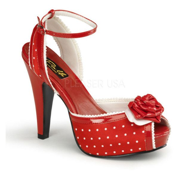 Pleaser Pinup Couture Bettie 06 Red Satin Sandals ($97) ❤ liked on Polyvore featuring shoes, sandals, red peep toe sandals, satin sandals, red sandals, satin peep toe shoes and scalloped shoes