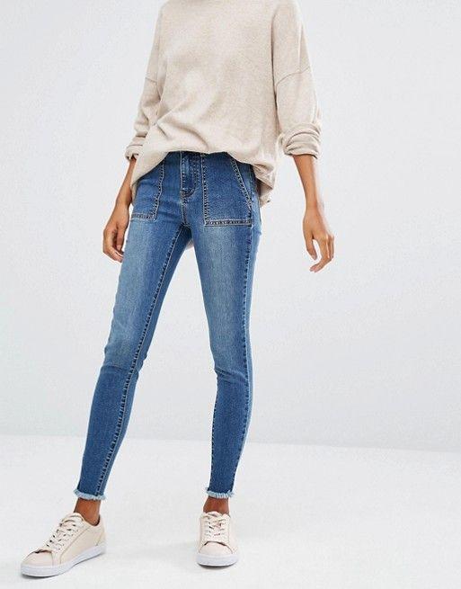 First & I   First & I Skinny Frayed Hem Jeans