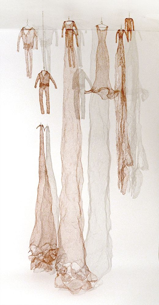 Laura Raboff ~ Knitted Copper Suits and Dresses (2012) Copper Wire 96 x 48 in | All photos © Laura Raboff http://www.artoflauraraboff.com | *details + video at link*