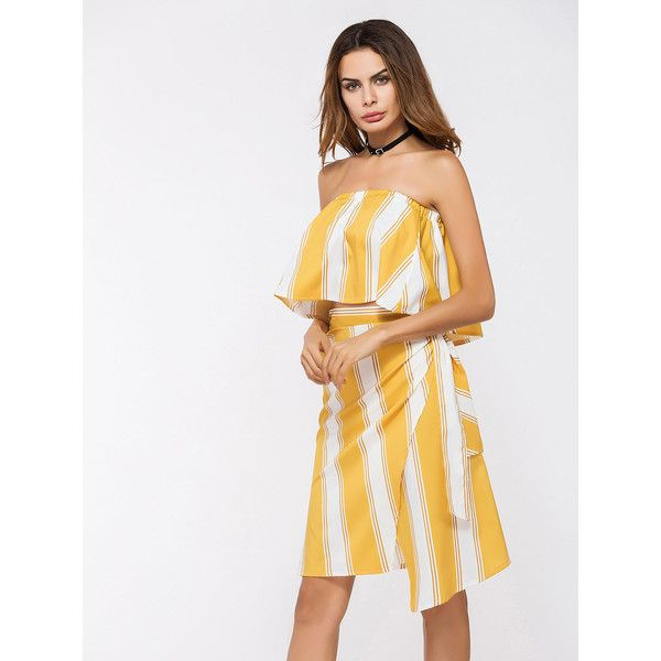 Yellow Stripe Ruffle Bandeau Top and Wrap Asymmetric Skirt (1,560 INR) ❤ liked on Polyvore featuring skirts, white ruffle skirt, ruffle bandeau bikini top, bandeau bikini top, white bandeau bikini top and asymmetrical wrap skirts