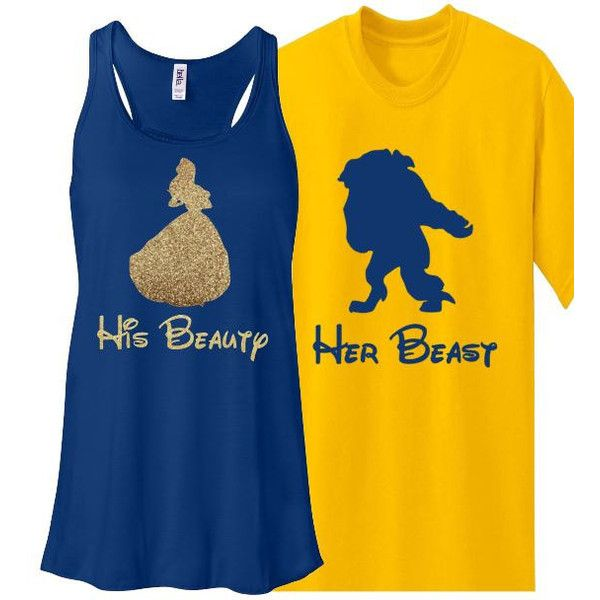 Glitter Couples Set Beauty and Beast Bella Tank Shirt Disney World... ❤ liked on Polyvore featuring tops, disney tanks, blue tank, racerback tank tops, glitter top and glitter tank top