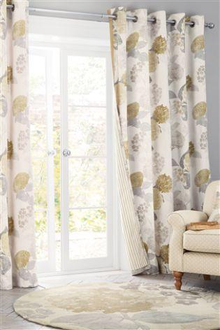 Buy Natural Flourish Print Eyelet Curtains From The Next