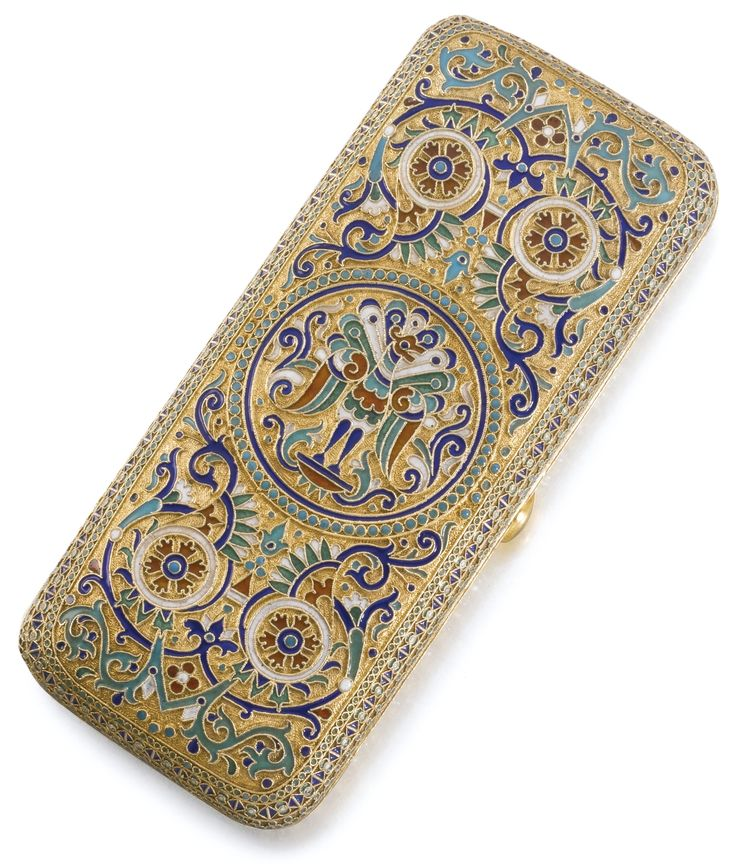A SILVER-GILT AND CLOISONNÉ ENAMEL CIGARETTE CASE, OVCHINNIKOV, MOSCOW, 1889 the lid and base centred with a stylised peacock within polychrome foliate and geometric motifs, the borders of diaper-patterned bands, 88 standard