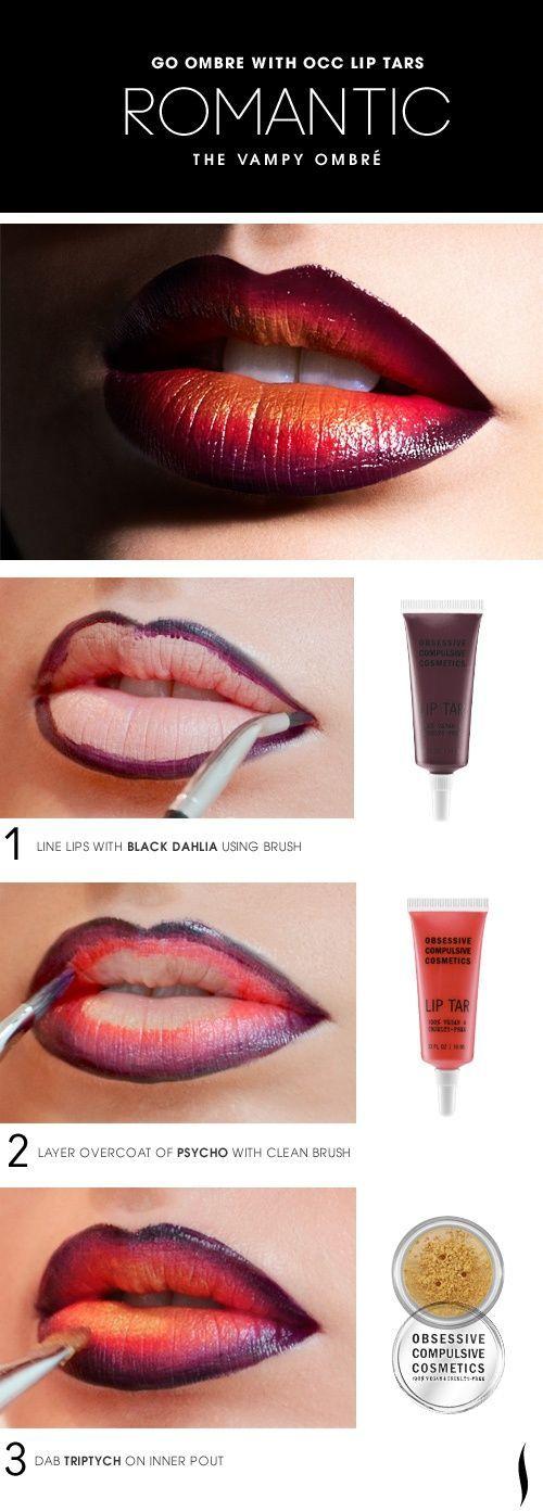 El look vampy ombré está de última moda este año. Los labios son lo mas sexy en el rostro ¿que esperas para resaltarlos?