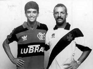 1992: Bebeto, do Vasco, vestia a camisa do Flamengo, e Júnior, do @Flamengo, vestia a camisa do Vasco!
