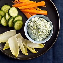 WW Greek Yogurt-Spinach Dip with Dill - up garlic & scallions, leave out dill. Artichoke hearts instead of water chestnuts.
