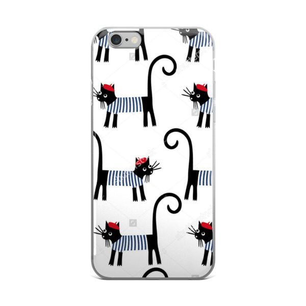 iPhone case with French Cat Pattern    Guidora