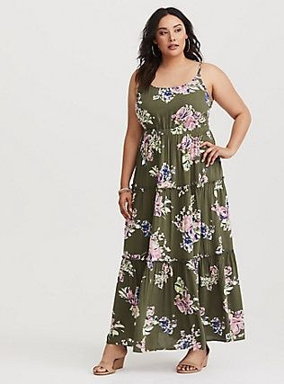 6f0540537f3 Plus Size Olive Floral Tiered Challis Maxi Dress