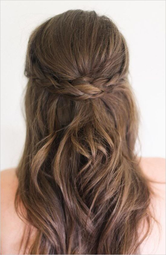 half up half down braided hair for your bridesmaids. Steal the rest of this cute bridesmaid look here --> #bridesmaids #weddingchicks  http://www.weddingchicks.com/2014/08/28/navy-and-pink-bridesmaid/
