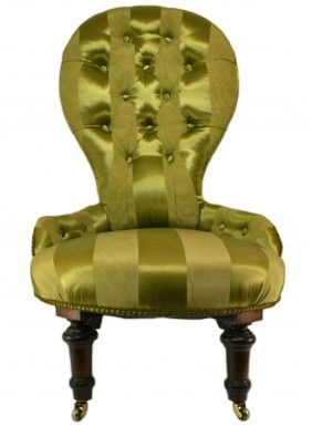 Mahogany and Green Silk Upholstered Salon Chair on Castors, Antique English Victorian, circa 1870