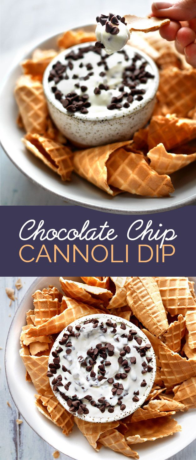 Mix ricotta with cream cheese, powdered sugar, chocolate chips, and vanilla to make quick Cannoli Dip.