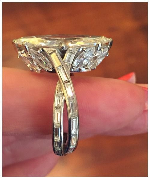 Trendy Diamond Rings :    A stunning vintage marquise cut diamond ring by Sterlé. Circa 1950's. At FD Gallery.  - #Rings https://youfashion.net/wedding/rings/diamond-rings-a-stunning-vintage-marquise-cut-diamond-ring-by-sterle-circa-1950s-at-fd/
