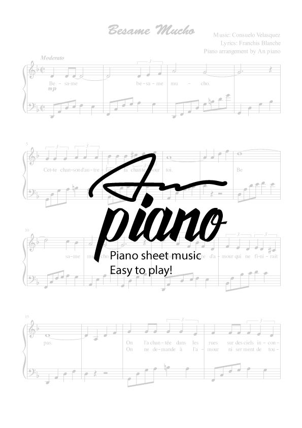 Besame mucho - Piano sheet music Video tutorial: https://youtu.be/p8sgITRKkr8