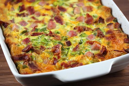 Breakfast Casserole Recipe Breakfast and Brunch with bacon, ham, butter, seasoned croutons, shredded cheddar cheese, eggs, milk, green bell pepper, yellow mustard, salt, pepper