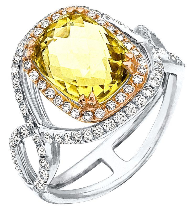 iamond Ring, .60 Carat Diamonds 3.83 Carat Quartz on 14K Rose & White Gold