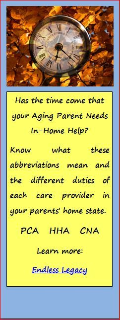 PCA, HHA, CNA, all homecare providers, know the differences when hiring help for your aging parents in their home. Learn how at: http://endlesslegacy.com/2014/09/18/home-care-help-for-seniors-pca-hha-cna/