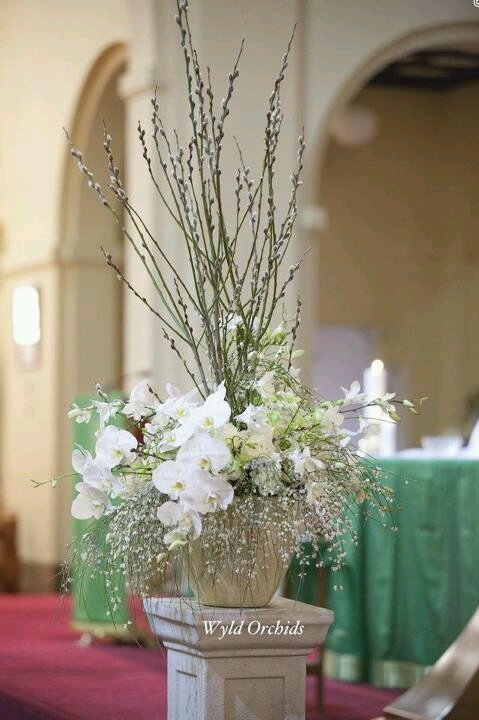 Church flowers:  could use pussy willows, white mums, eucalyptus, babies breath