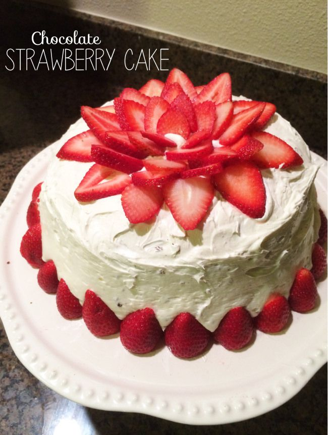 Chocolate Cake with Strawberry Fruit Filling // Decorate a Cake with Strawberries