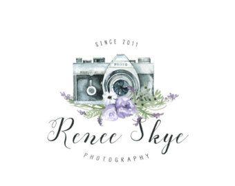 Premade Logo cámara insignia Boho fotografía insignia y marca de agua diseño negocio Branding fotografía filigrana caligrafía Logo plumas cámara