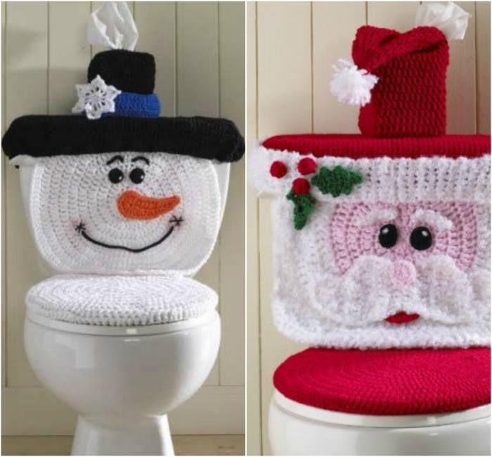 Juego De Baño Navideno A Crochet:Free Crochet Snowman Toilet Paper Cover Pattern