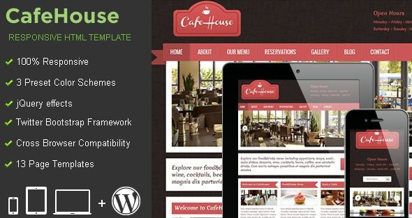 MojoThemes - CafeHouse - Responsive HTML Template