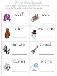 FREE printable winter worksheets, from Kumon.com and All Kids Network.