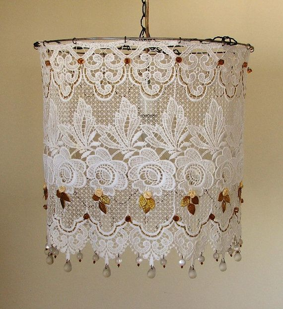 Simply White Lacy Hanging Lamp Shade