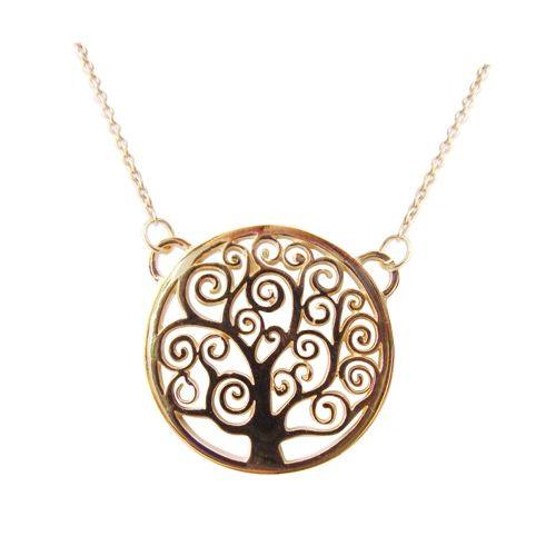 Le #collier avec son pendentif représentant le célèbre Arbre de vie de Gustav #Klimt Collier en laiton doré Prix 45 euros TTC