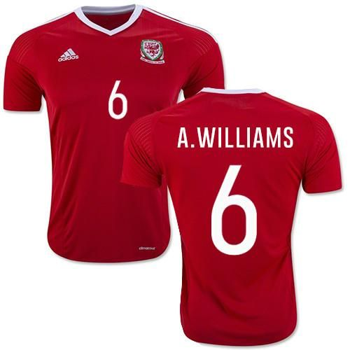 Ashley Williams 6 Wales Men's New Euro 2016 Home Soccer Jersey