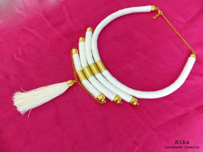 white necklace Masai jewelry African necklace African jewelry Rope tassel necklace African statement necklace Africa necklace Boho chic by NikaHandmadeJewelry on Etsy