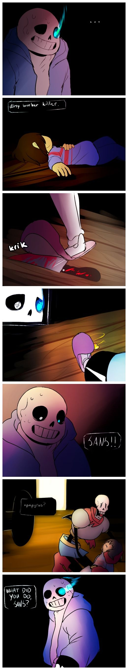 Sans, Frisk, and Papyrus #comic #blood #knife