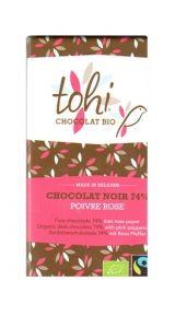 Tohi 70g. Ciocolata Organica neagra cu piper roz