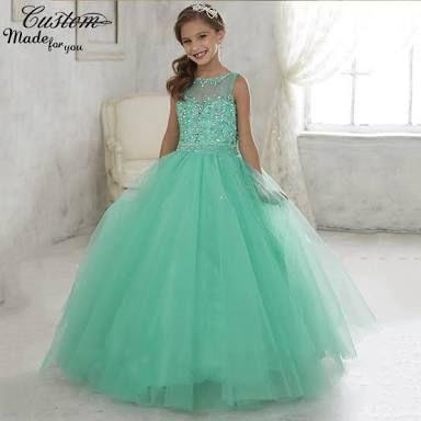 Resultado de imagen para vestidos de fiesta para niñas color verde jade