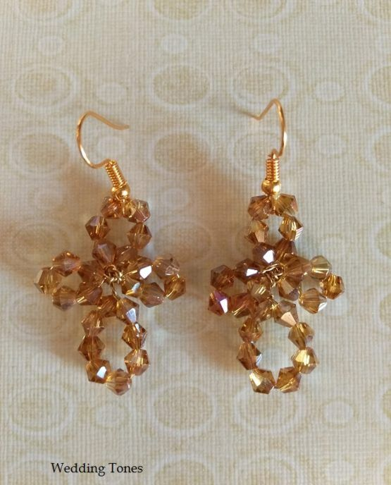 Handmade Cross Crystal Earrings – Wedding Tones