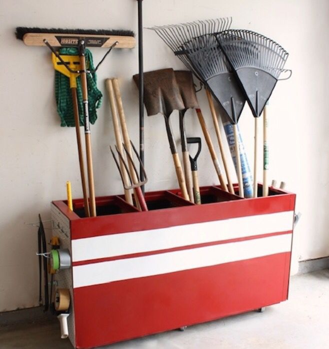 Turn that old dusty filing cabinet into your own personal garden utensil holder