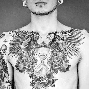 Mens Chest #Tattoo With 2 Women And Flowers