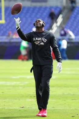 Redskins vs. Reavens  -  Oct 9, 2016:   16-10, Redskins  -     Ravens wide receiver Breshad Perriman (18) warms up prior to the game against the Washington Redskins at M&T Bank Stadium. Mandatory Credit: Mitch Stringer-USA TODAY Sports