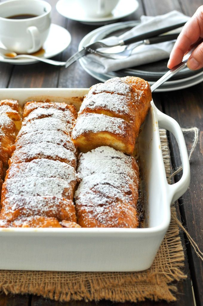 Hasselback French Toast - made with baguettes / french stick bread that creates perfect crevices to pour maple syrup into!