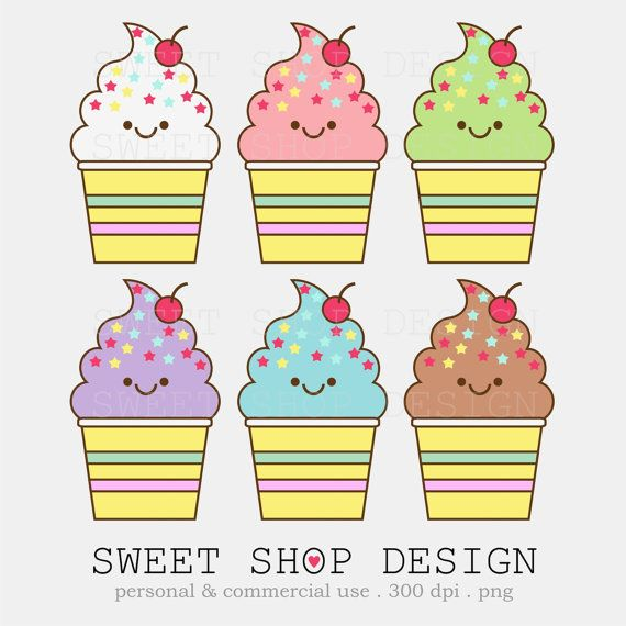 Kawaii Ice Cream Clip Art, Bakery Clip Art, Baby Shower Clip Art, Royalty Free Clipart, Instant Download by SweetShopDesign, $3.00