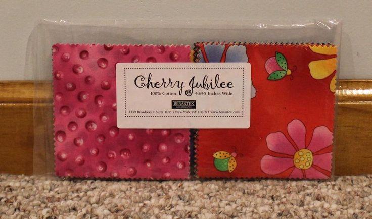 "New Benartex Cherry Jubilee Charm Pack 100% Cotton 4"" x 4"" #Benartex"