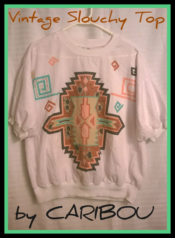 Vintage Aztec Painted-Style Print Short Sleeve Slouchy Top by Caribou - 80s 90s - Size XL - Boho - Hipster by AliceInaBlueBox on Etsy