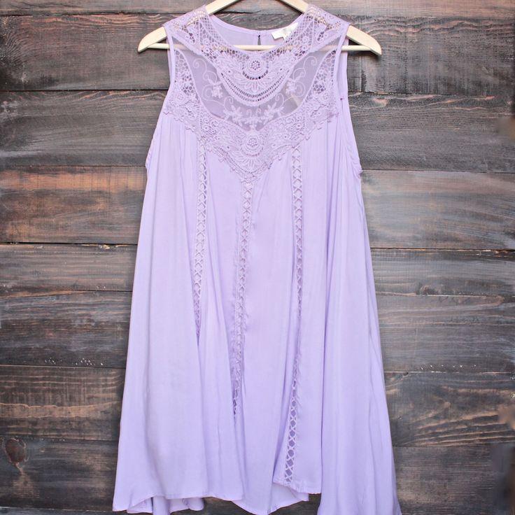 lavender boho crochet lace dress - medium / lavender