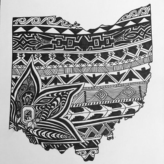 Custom Ohio state art.  Hand drawn. Made to order. Pen and ink.  #zentangle #stateart #penandink #art #artwork #Ohio #Theohiostate #ohiostate #buckeyes #tribalart #tribaldesign #blackandwhite #illustration #drawing #wallart