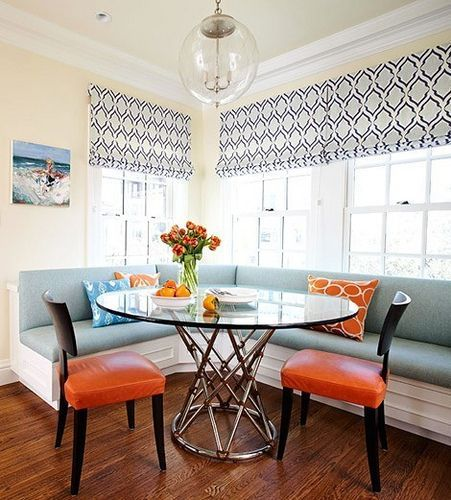 Dining room. bench seating.  with upholstered tightback