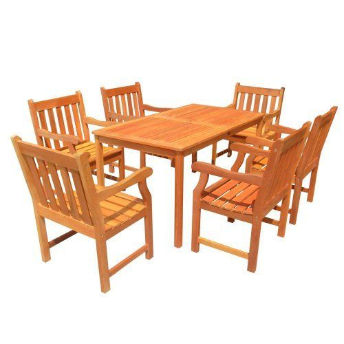 VIFAH V98SET26 Outdoor Seven-Piece Wood Dining Set with English Garden Rectangular Dining Table and 6 Armchairs by VIFAH. $1374.34. Lifetime warranty against manufacturing defects, manufacturing craftmentships, and materials - designed and made in the USA - wooden table is expertly kiln-dried and extremely durable for outdoor/indoor use. FSC high density wood (shorea) is a hardwood growing naturally and plentifully in Asia Pacific protected forests and is mold, mil...