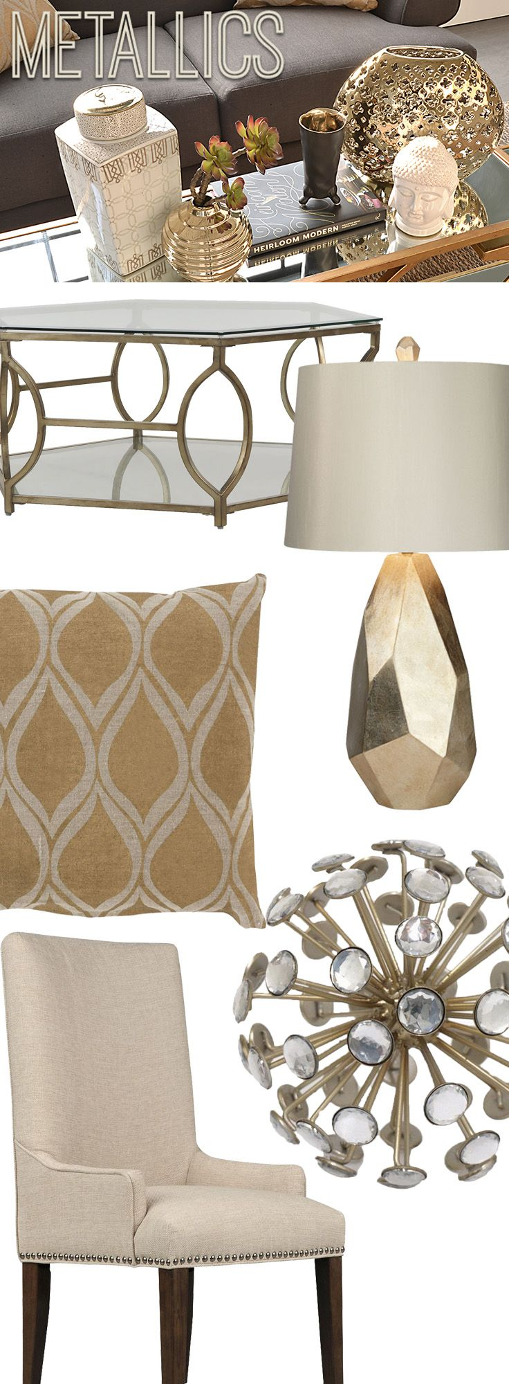 Add some metallic accents to your home for a little sparkle and shine. Shop online now. #LivingSpaces