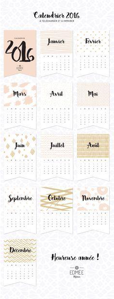 calendrier 2016 à télécharger et à imprimer DIY                                                                                                                                                                                 Plus