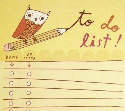 Yellow Owl TO DO LIST notepad by boygirlparty list by boygirlparty, $8.00